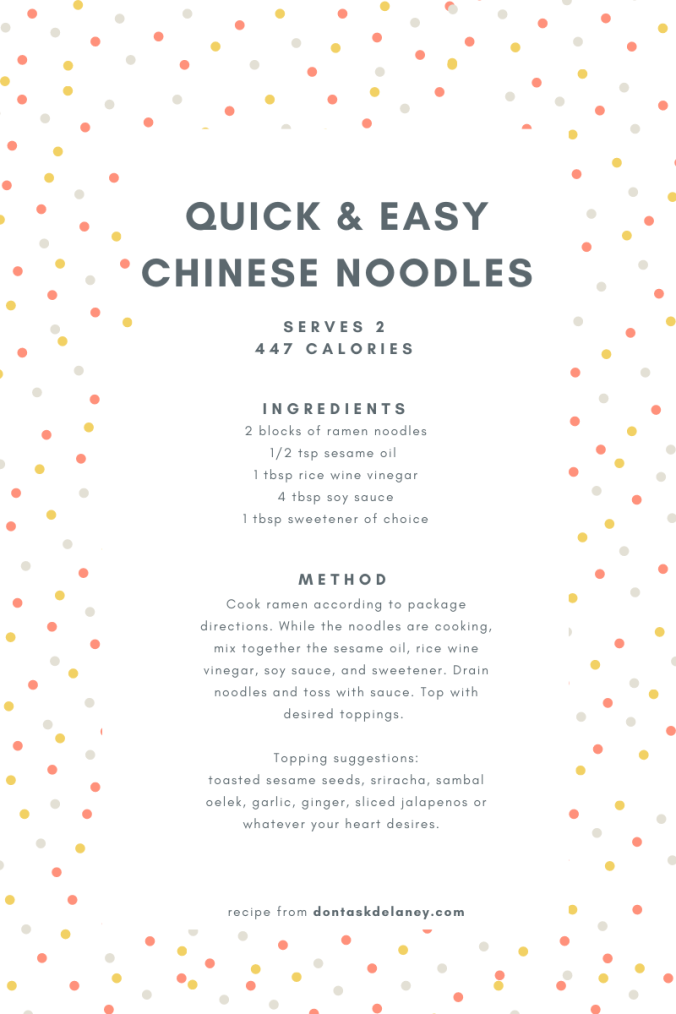 Quick and Easy Chinese Noodles Recipe Card